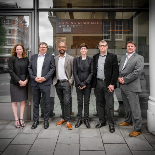 Darling Associates - Directors (L-R) Kate Moore RIBA, Chris Darling RIBA, Damion Burrows RIBA, Liz Moran RIBA, Andrew Richardson RIBA and Gareth Watkins RIBA