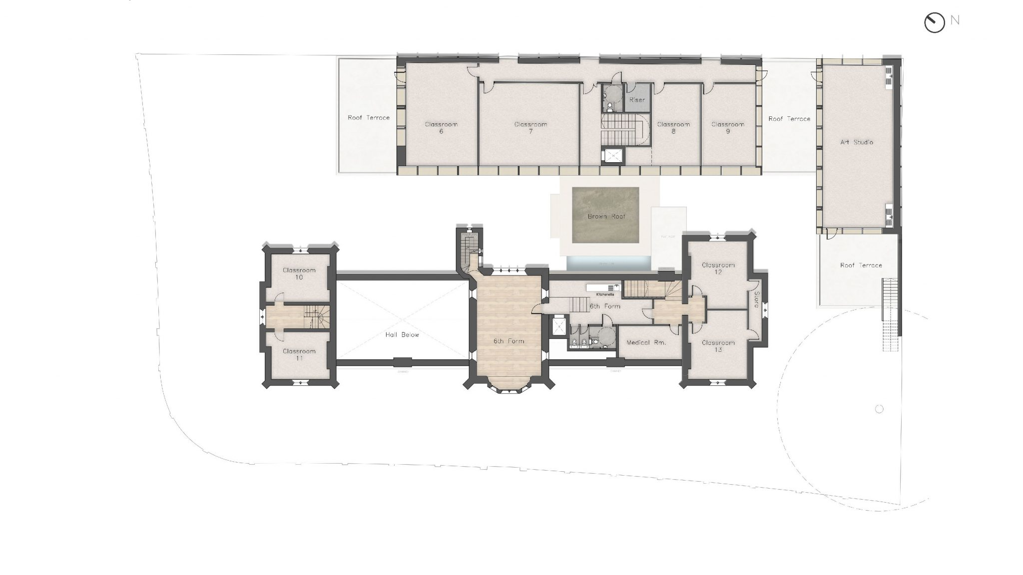 Plan, First Floor - The Castle Club School, Fulham, London SW6