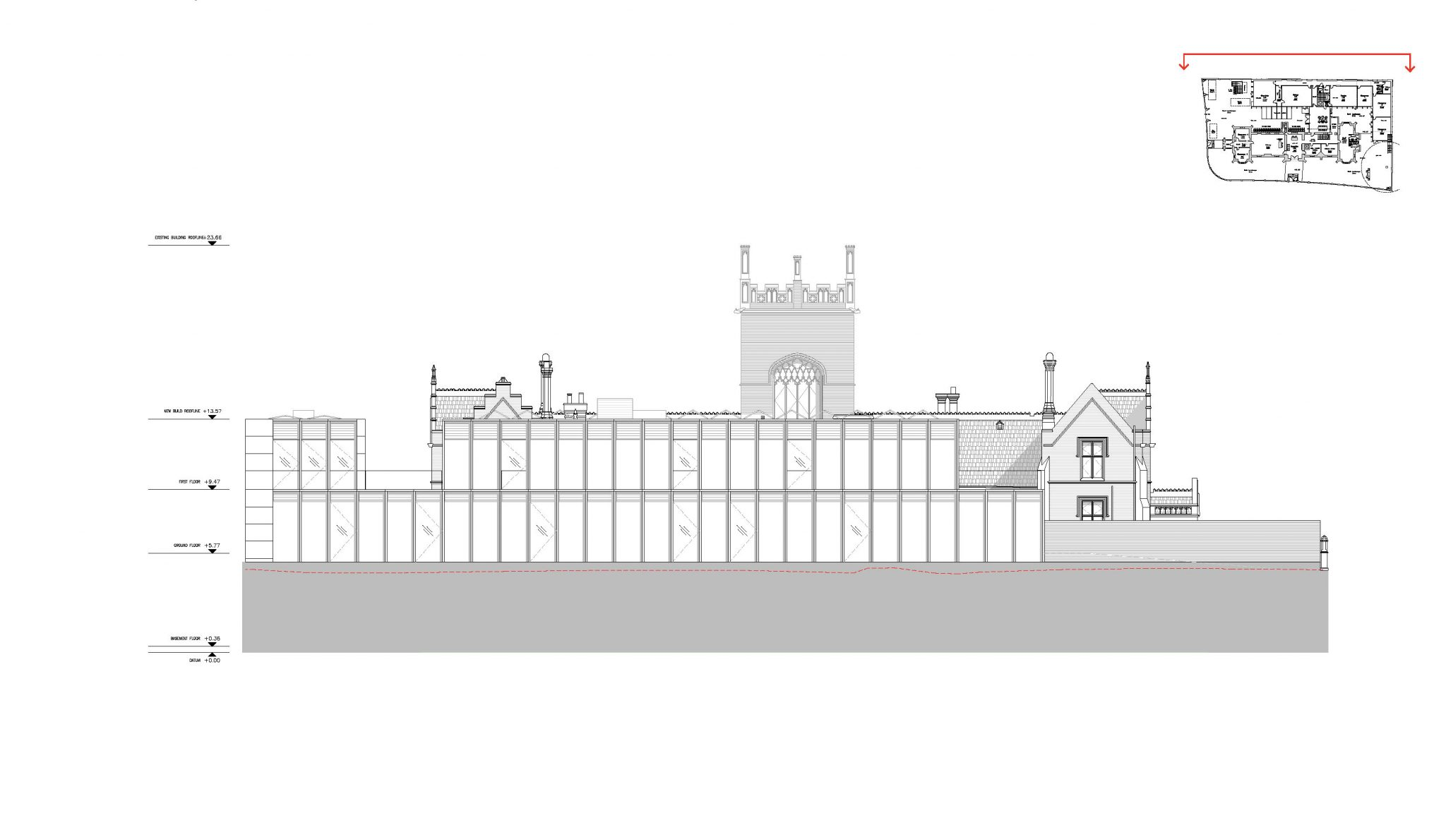 Elevation, Rear - The Castle Club School, Fulham, London SW6
