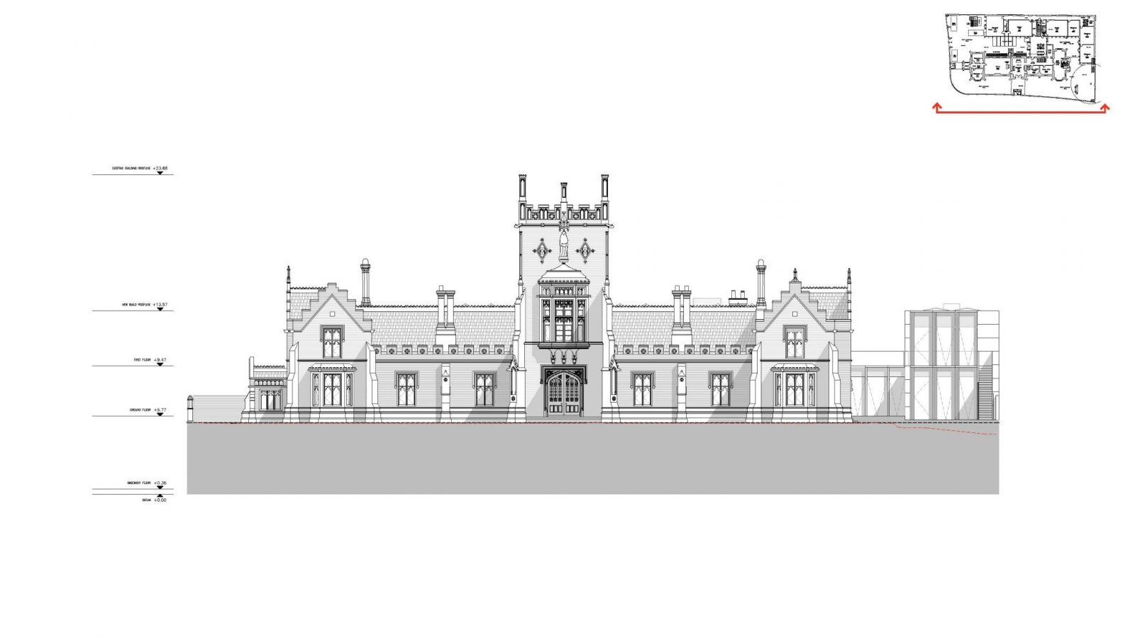 Elevation, Front - The Castle Club School, Fulham, London SW6