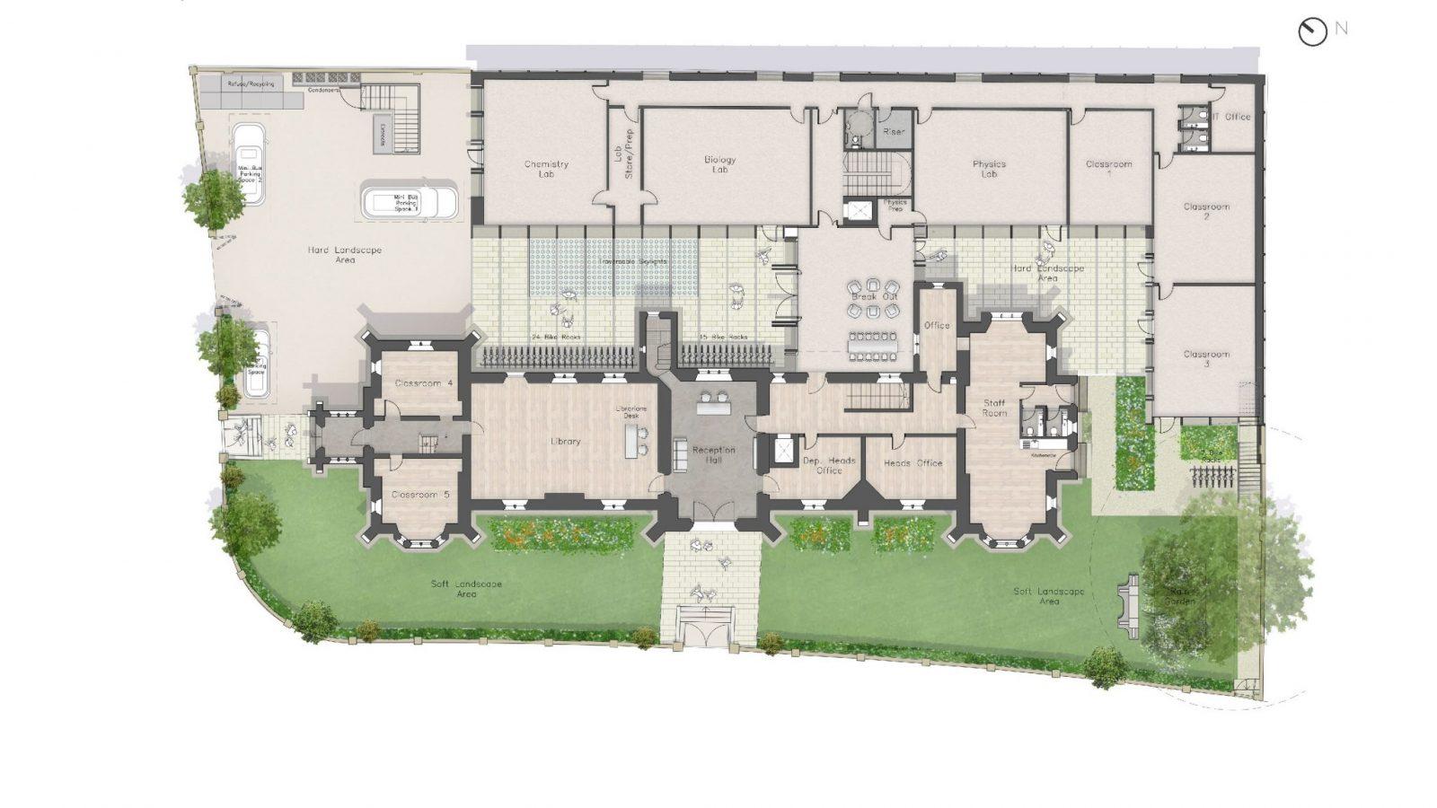 Plan, Ground Floor - The Castle Club School, Fulham, London SW6